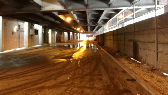 This is Lower Wacker adjacent to the Chicago Auto Pound, the fence on the right.